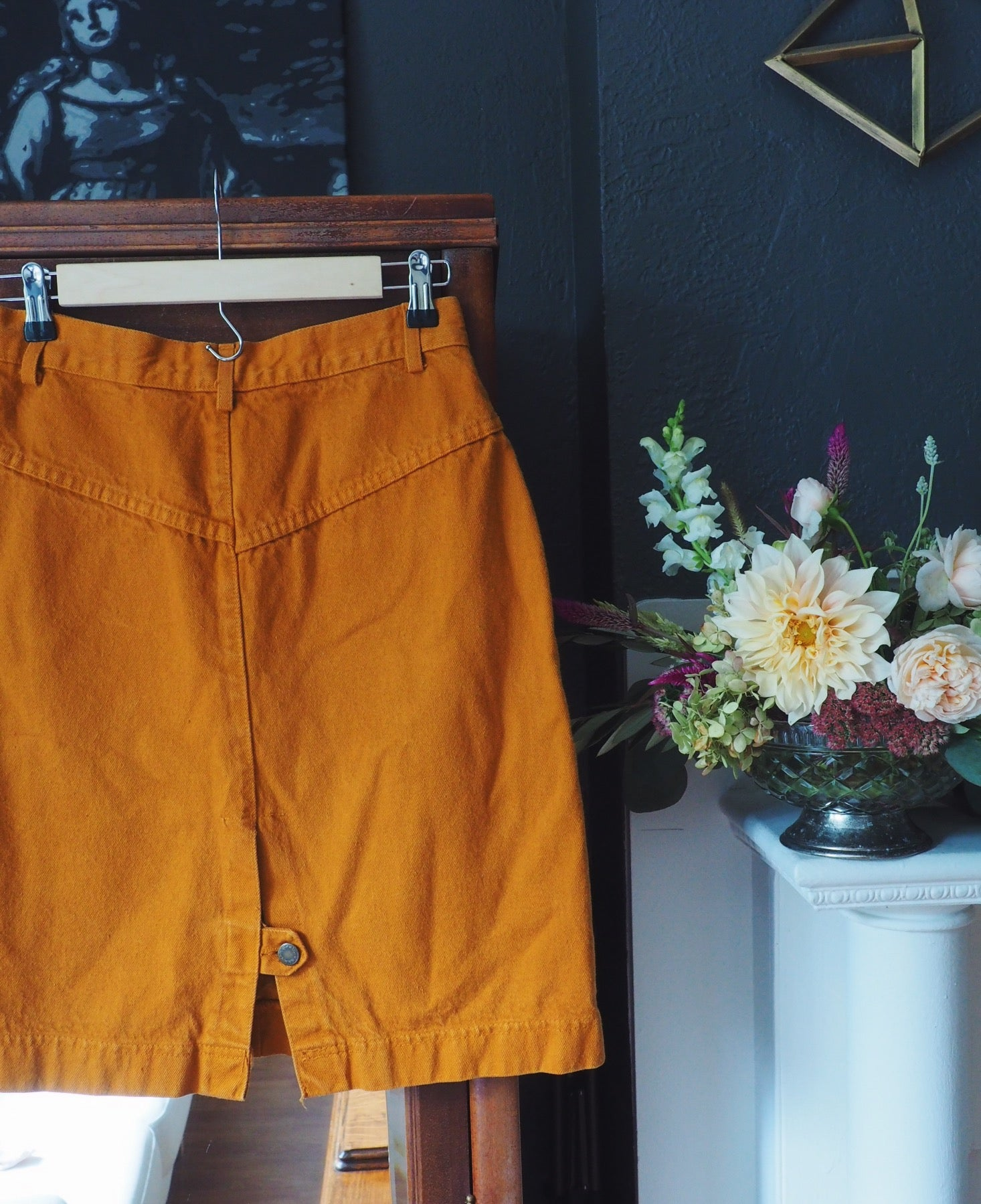 Vintage Orange Denim Skirt