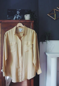Vintage Pure Silk Golden Long-Sleeve Blouse
