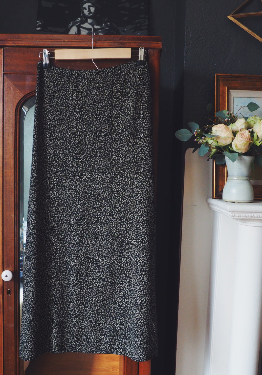 90s Black and Beige Floral Maxi