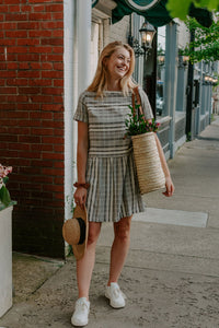 French Stripe Gray Drop Waist Dress