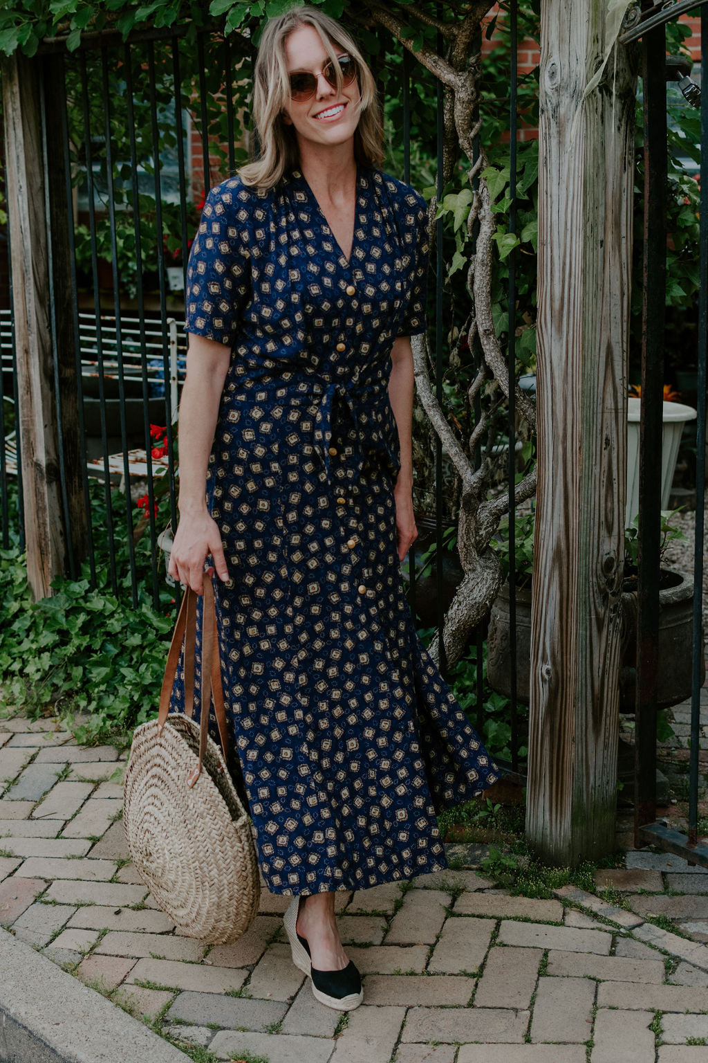 Vintage Navy Button Front Dress
