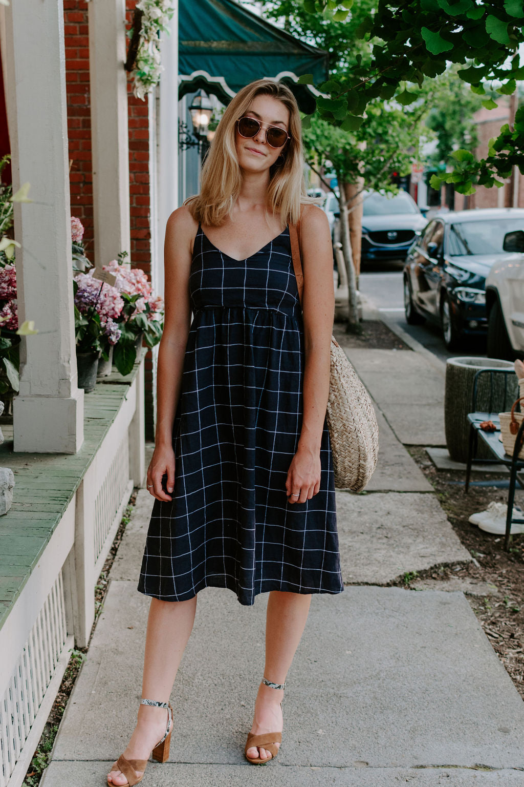 Navy Linen Plaid Midi Dress