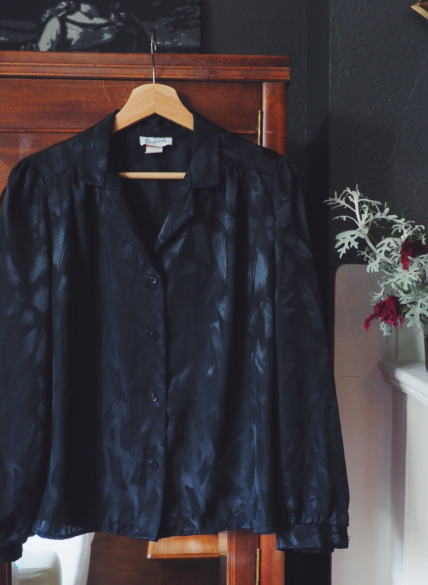 Vintage Black Button Down Blouse