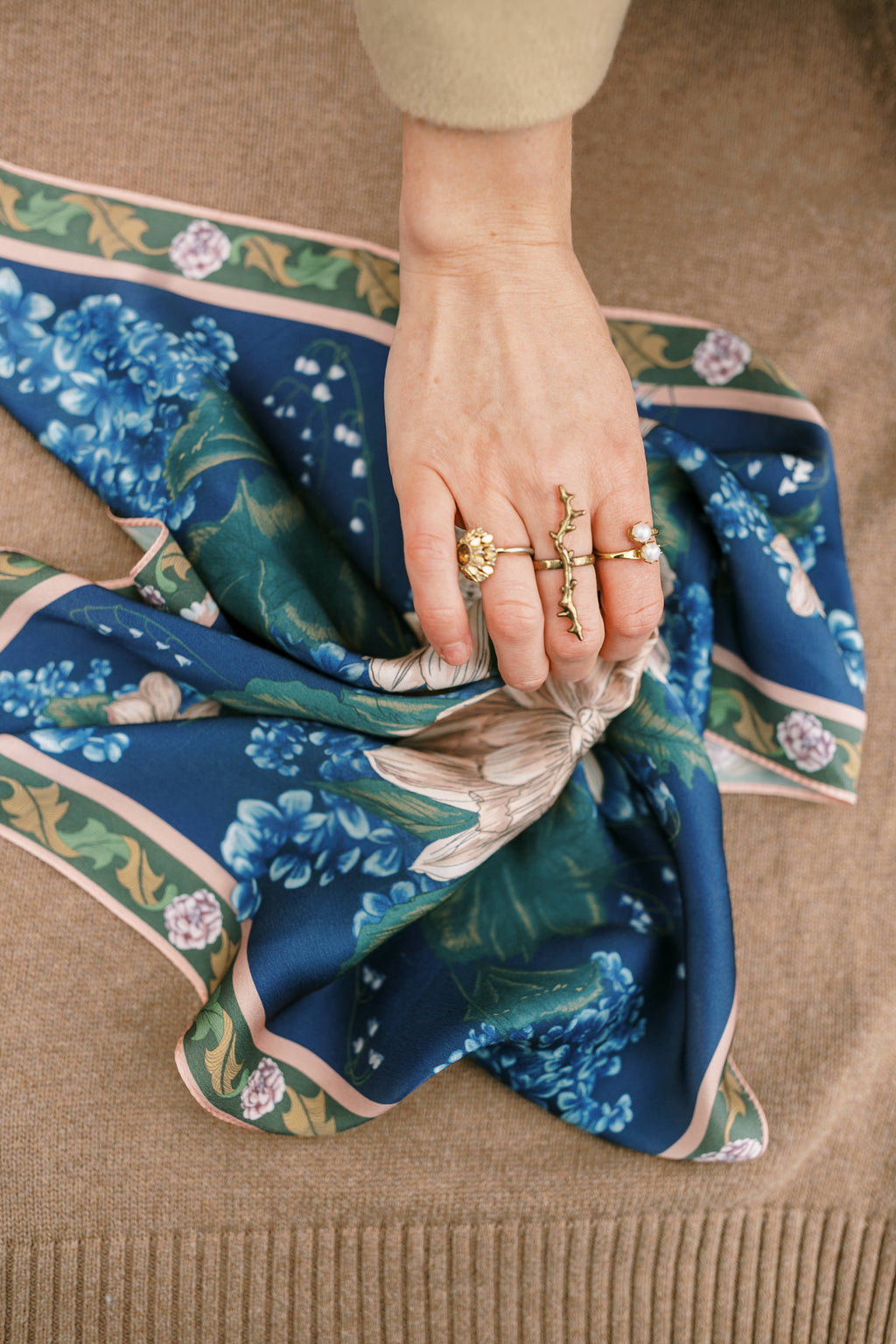 The Mary, Mother of the Church Floral Silk Scarf