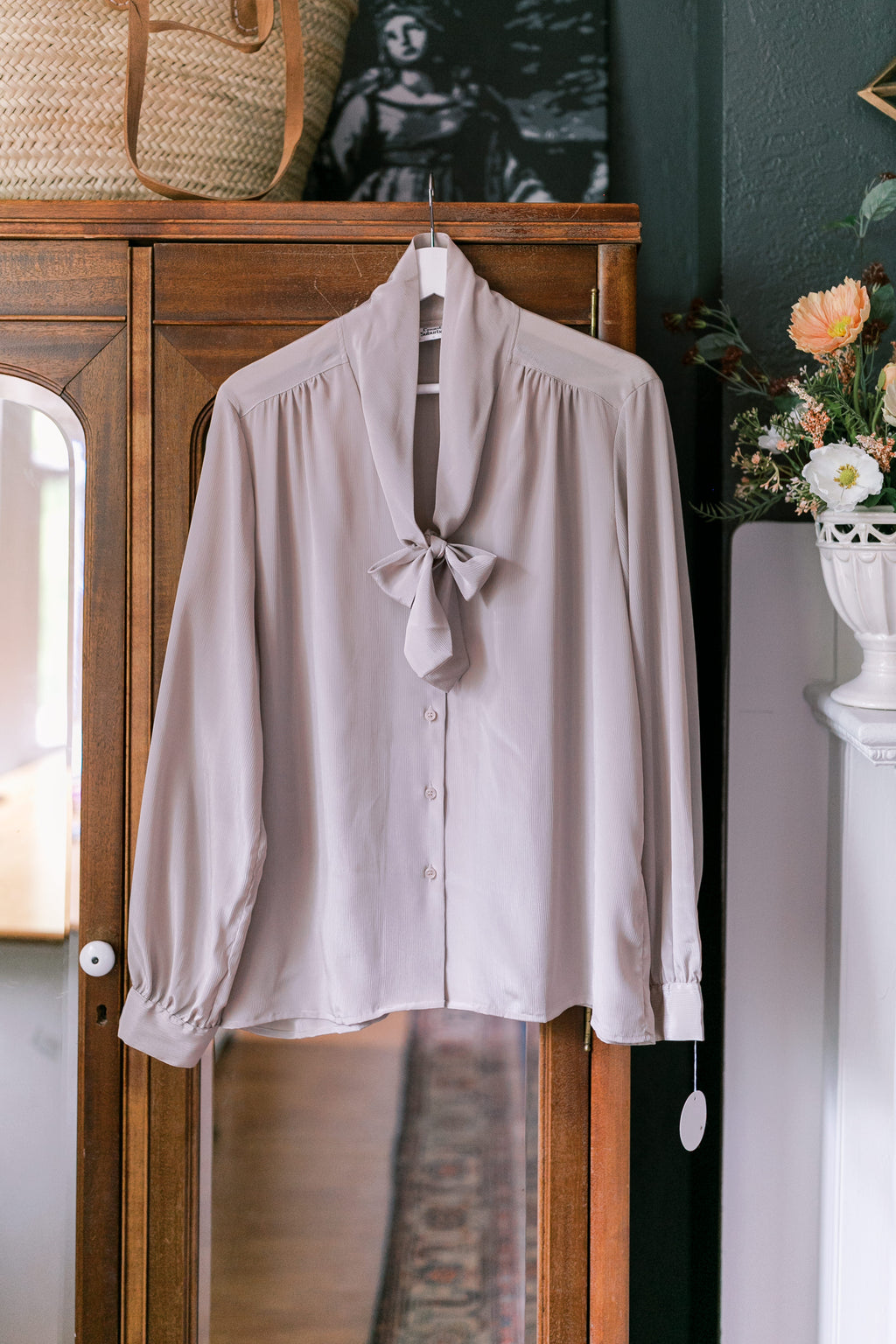Vintage Taupe V-Neck Secretary Bow Blouse