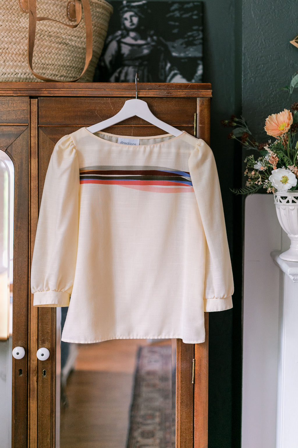 70s Color Striped Blouse