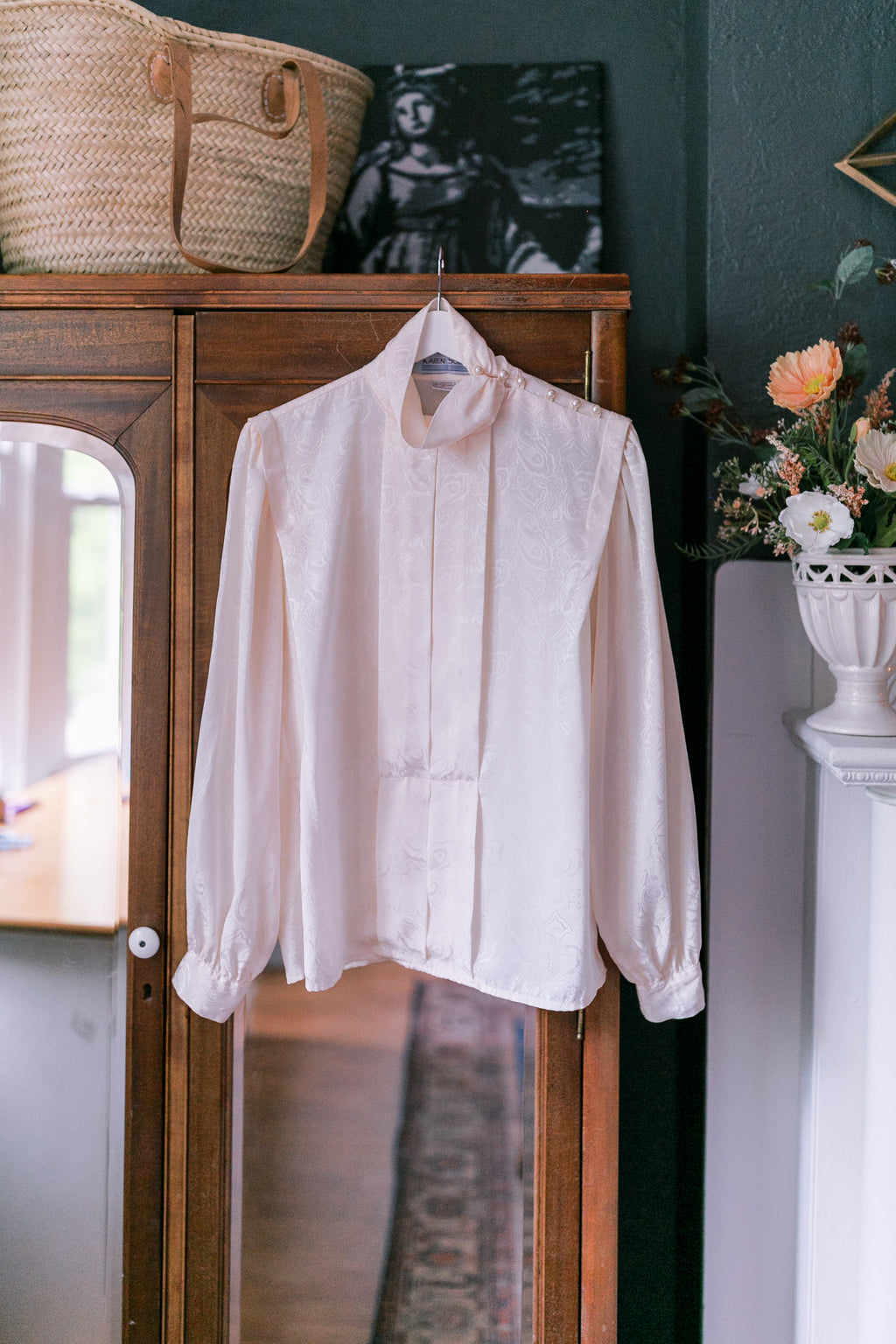 Vintage Cream Pearl Turtleneck Secretary Blouse