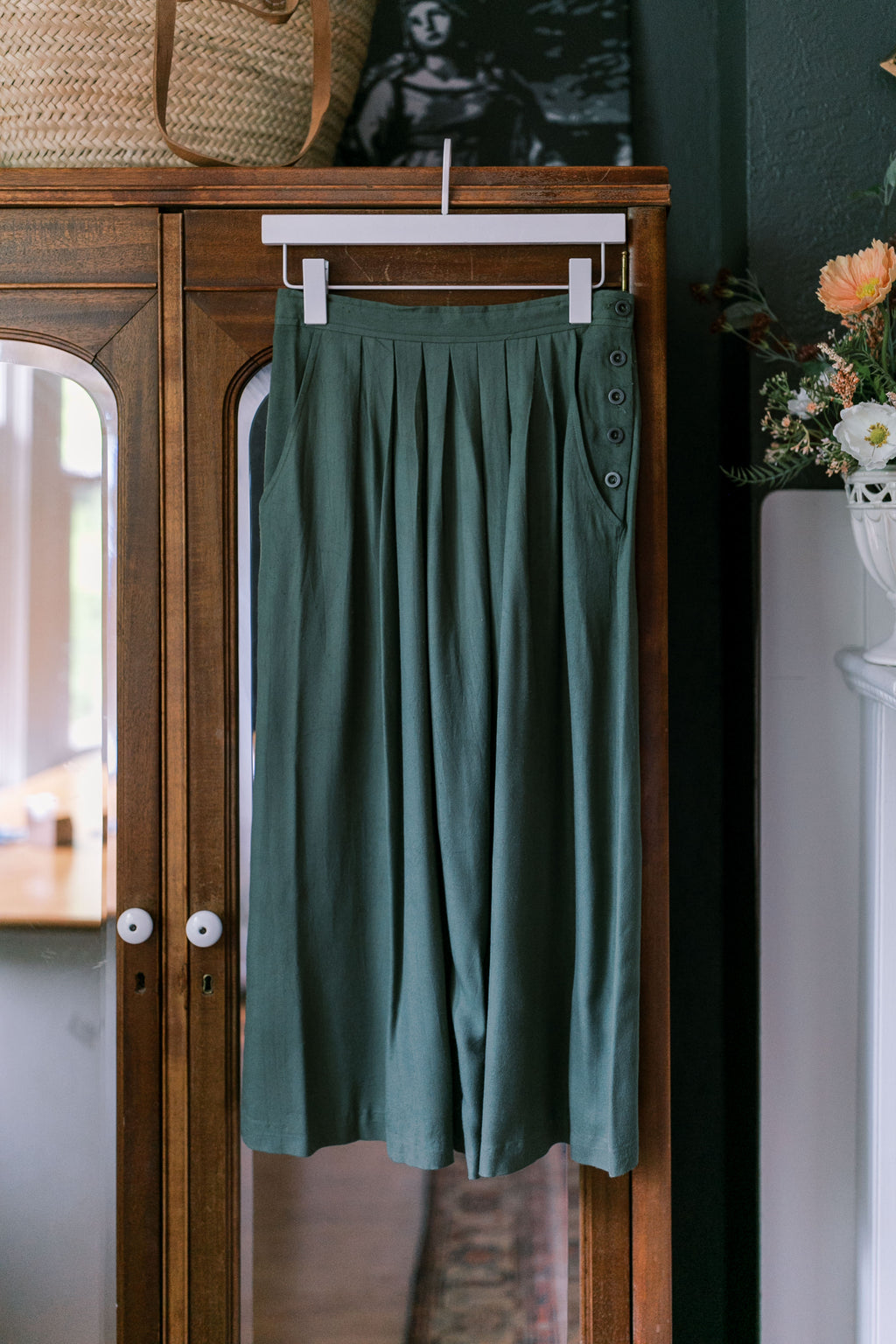 80s Olive Green A-Line Midi Skirt
