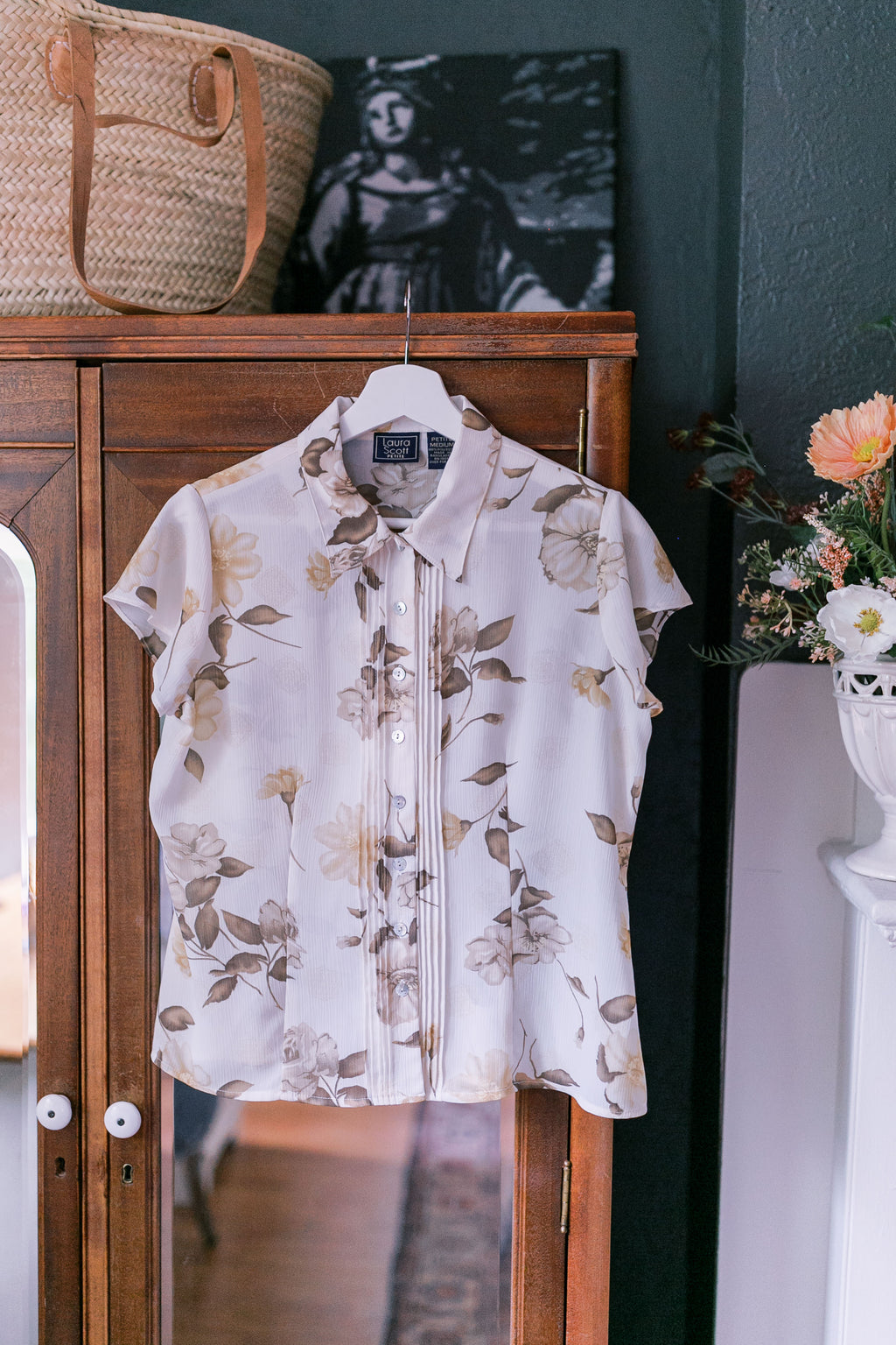 Vintage Sheer Floral Blouse (part of set)