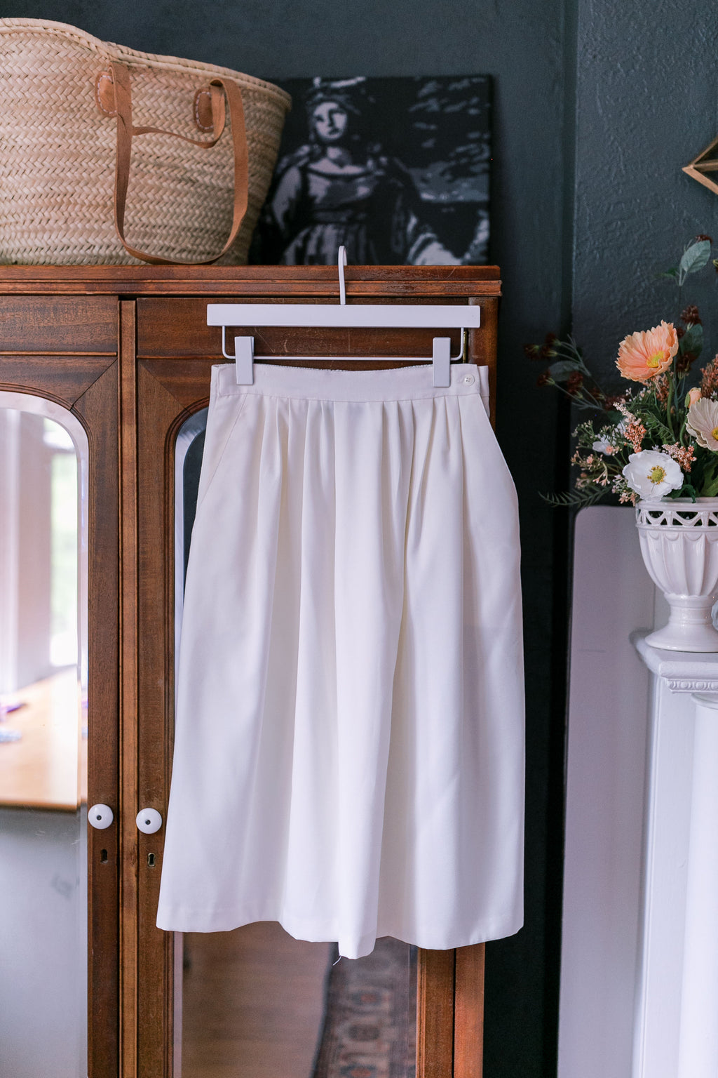 Made in the USA Buttercream Pleated Midi-Skirt