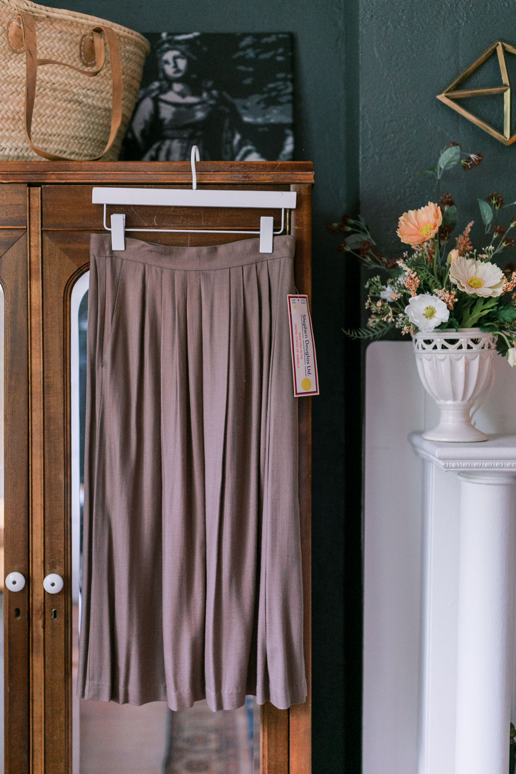 80s Soft Brown Pleated A-Line Midi Skirt