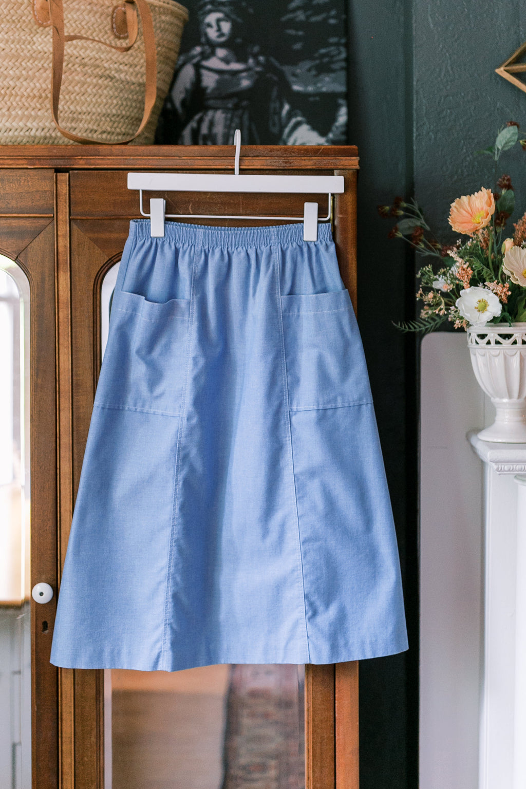 Made in the USA Vintage Chambray A-Line Skirt