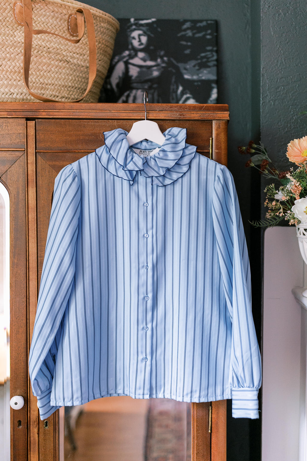 Vintage Blue Ruffled Collar Pinstripe Blouse