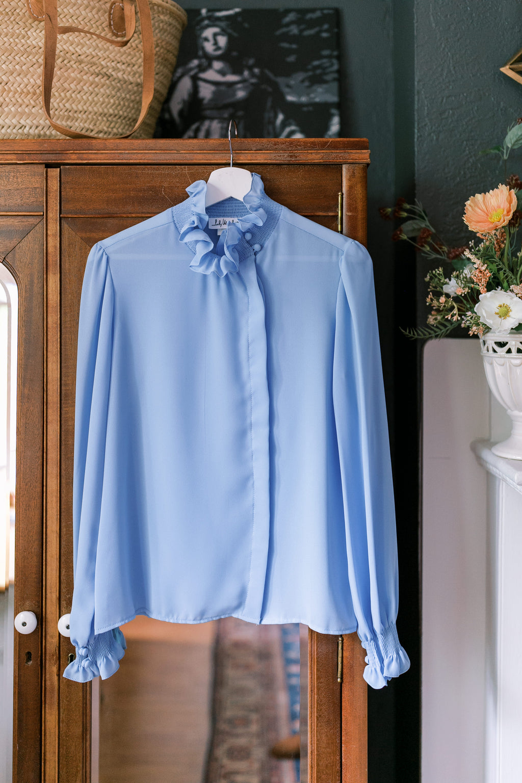 Vintage Sky Blue Ruffled Collar Blouse