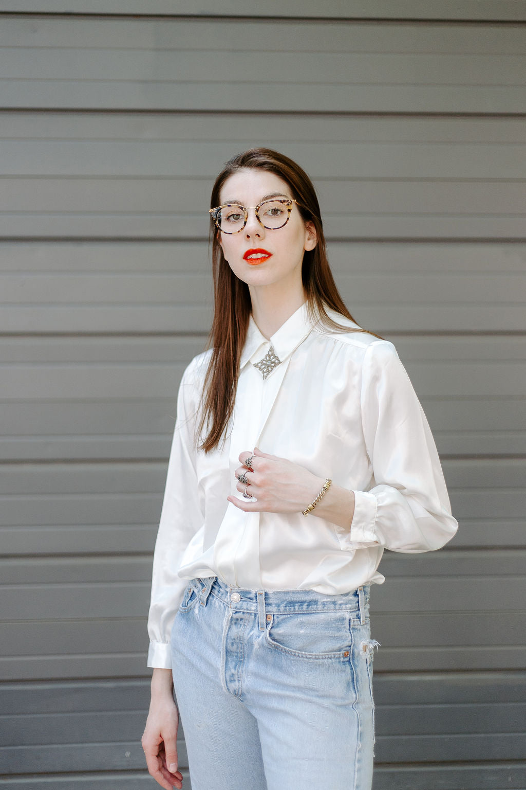 Vintage Statement Collar Long-Sleeve Blouse