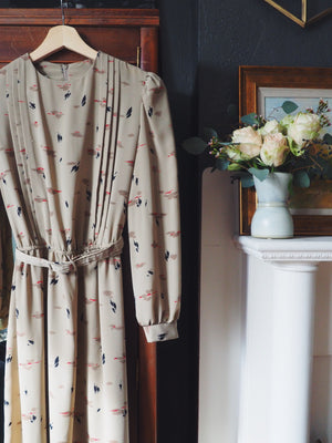 Vintage Beige Brush Stroke Dress