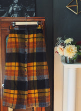 Load image into Gallery viewer, Vintage 70s Plaid Wool Midi Skirt