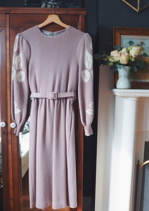 Vintage Mauve Wool Dress