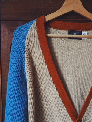 Vintage Color Block Cardigan