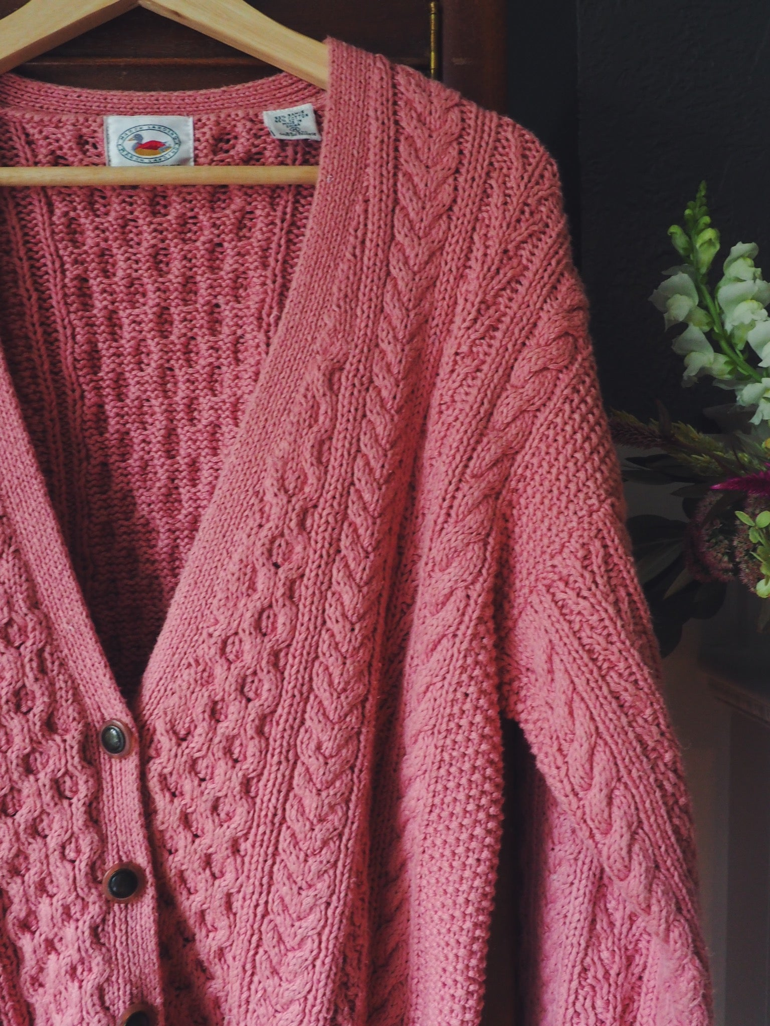 Vintage Pink Cable Knit Cardigan