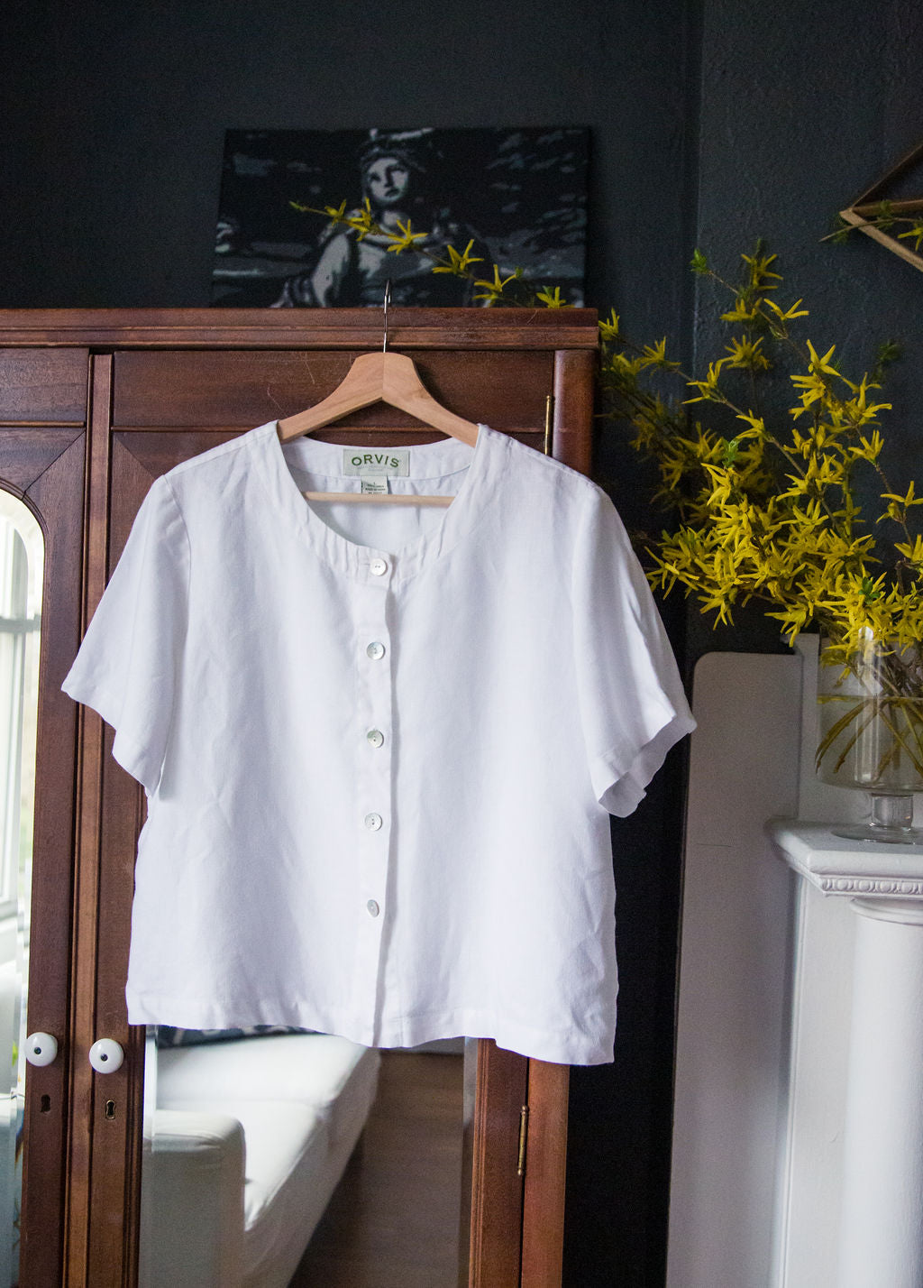 Orvis Linen White Button Front Blouse