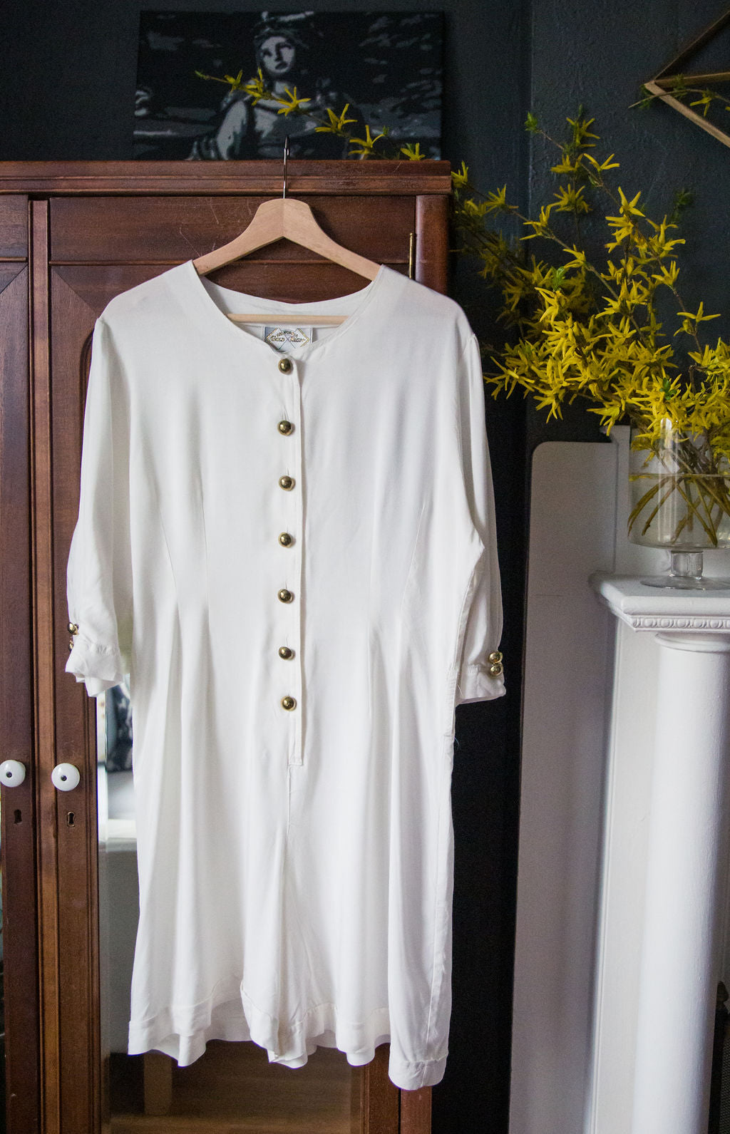 Vintage 80s White Button Front Jumpsuit