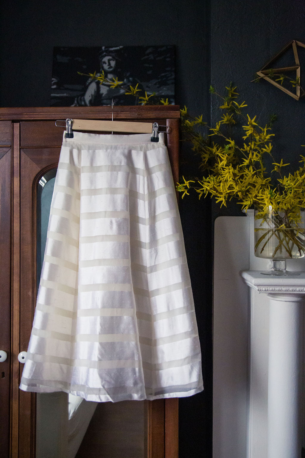 Vintage Petite White Striped A-Line Skirt