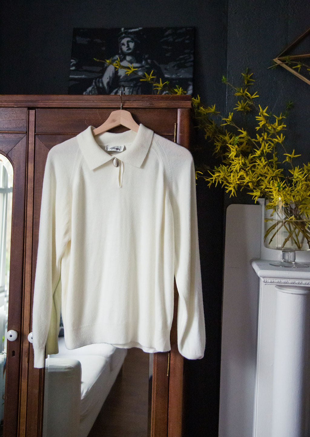 Vintage White Collared Sweater