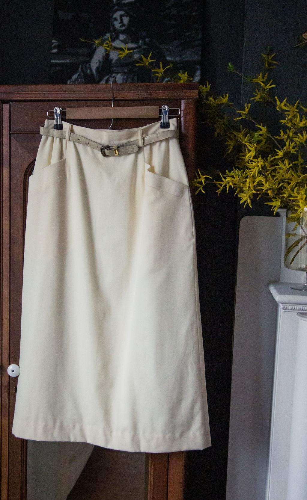 Vintage Cream Pencil Midi Skirt