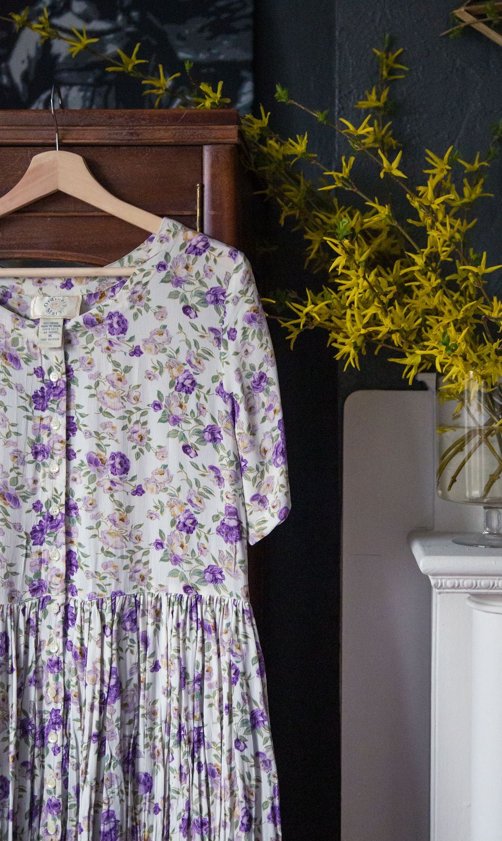 90s Purple Floral Button Front Dress