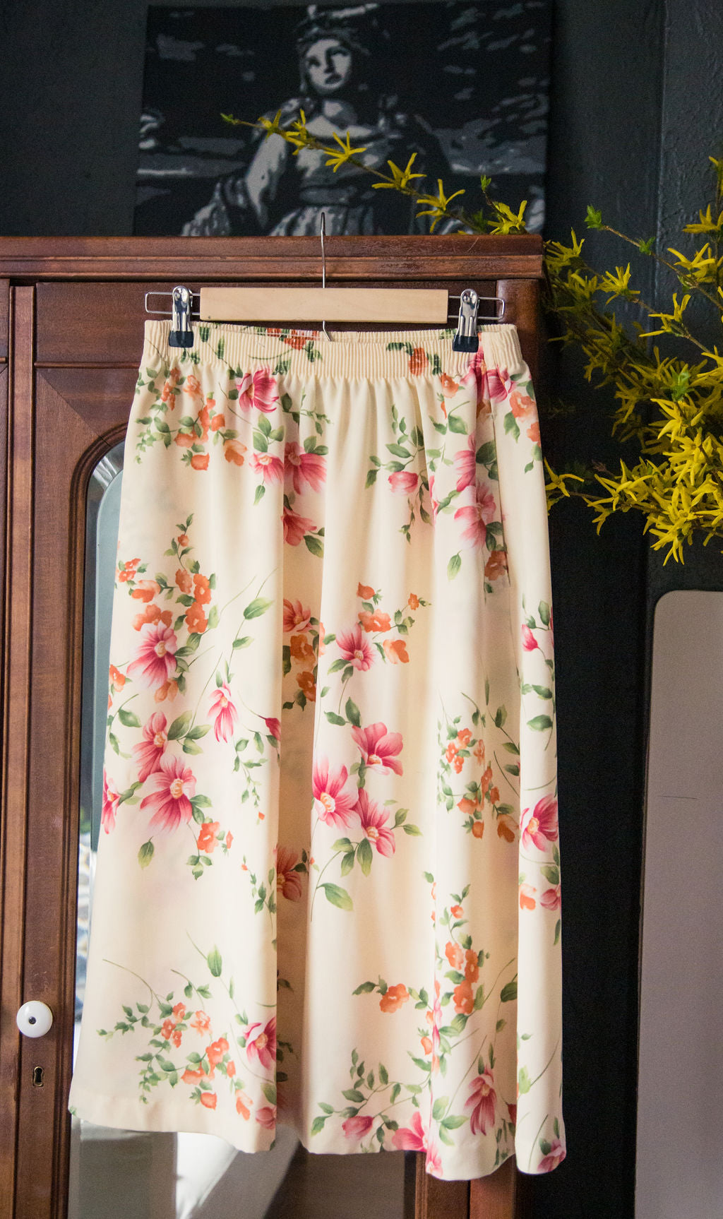 Vintage Yellow Floral Midi Skirt
