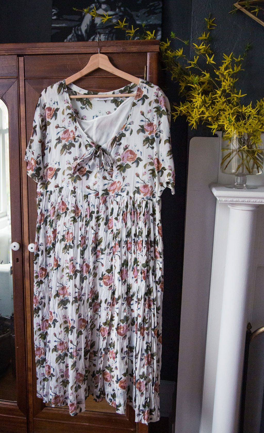 90s Rose Floral Empire Maxi Dress