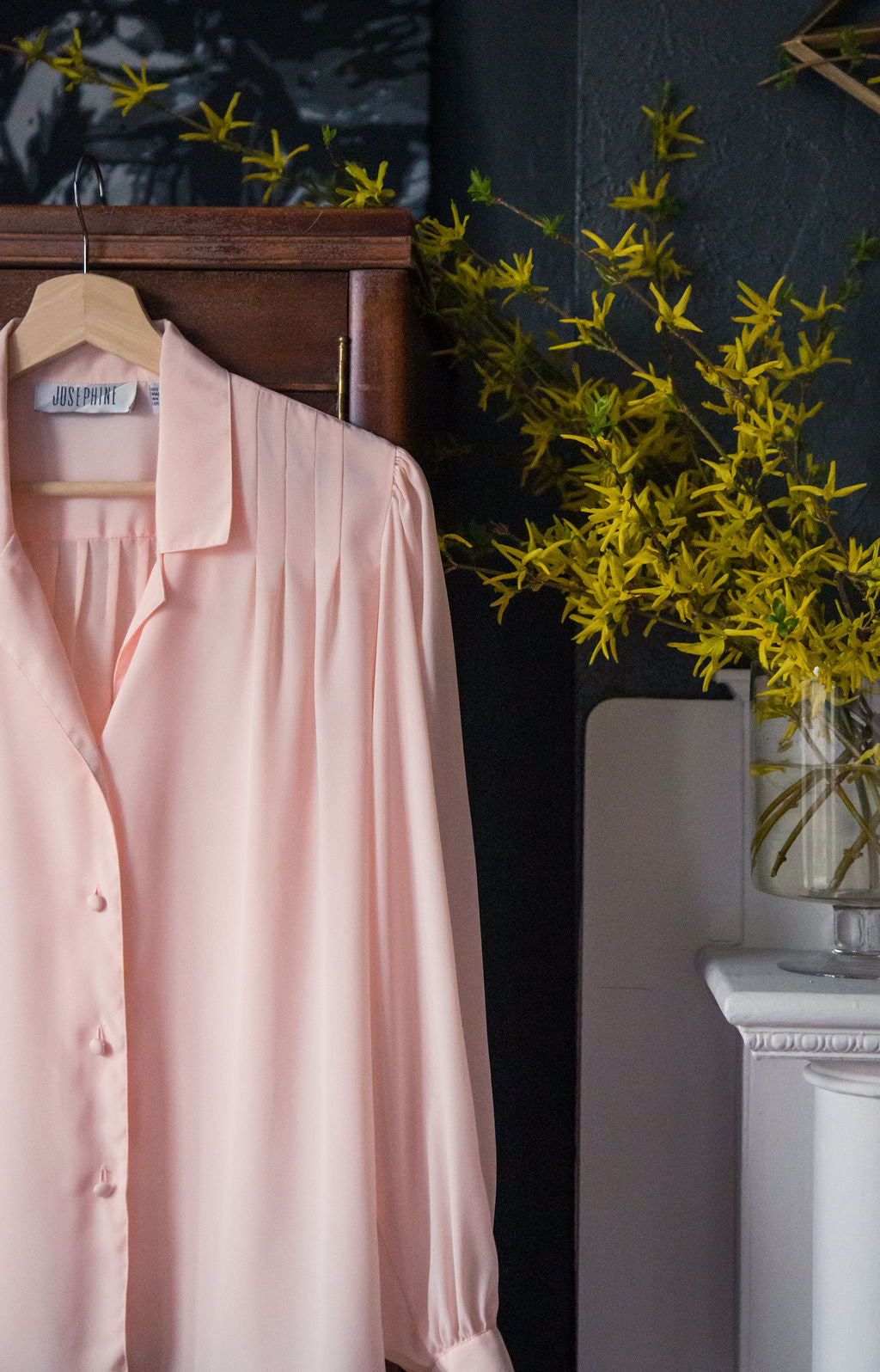 Vintage Pink Button Down Blouse