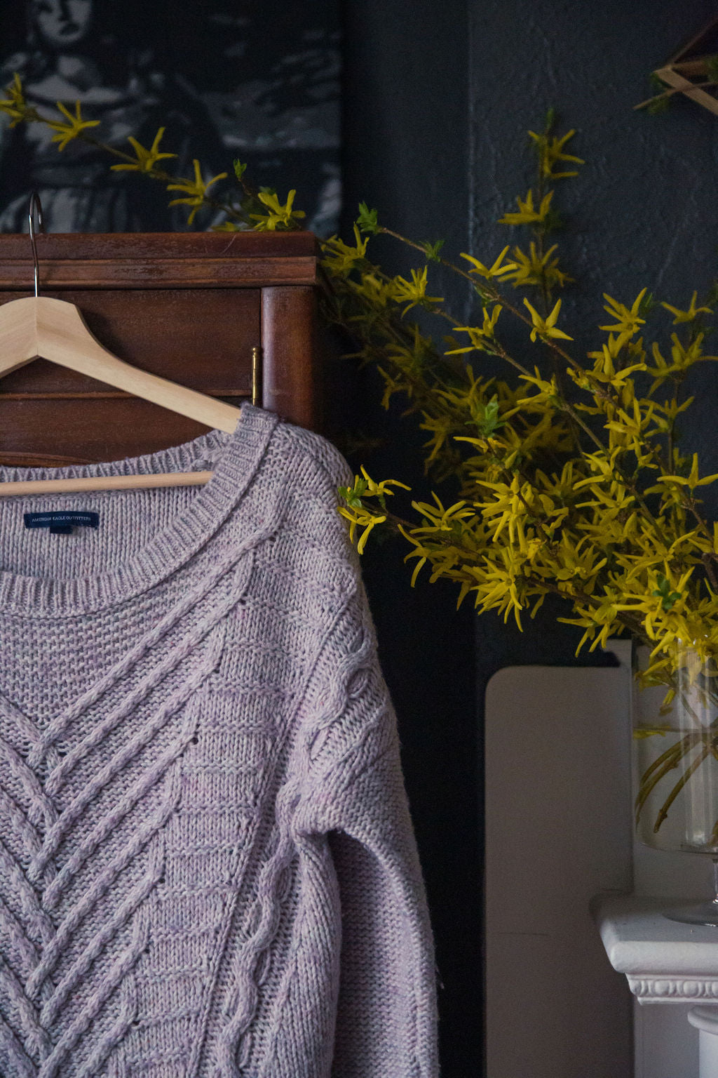 American Eagle Lavender Cable-Knit Sweater