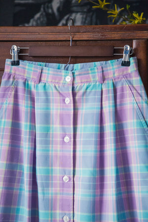 Vintage Pastel Plaid Button Front Skirt