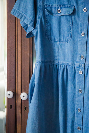 Vintage Denim Button Front Baby Doll Dress