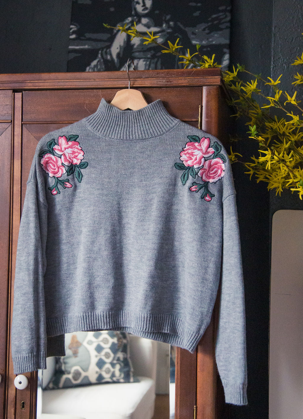 Gray Cropped Floral Sweater