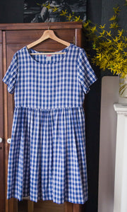 90s Baby Doll Blue Gingham Dress