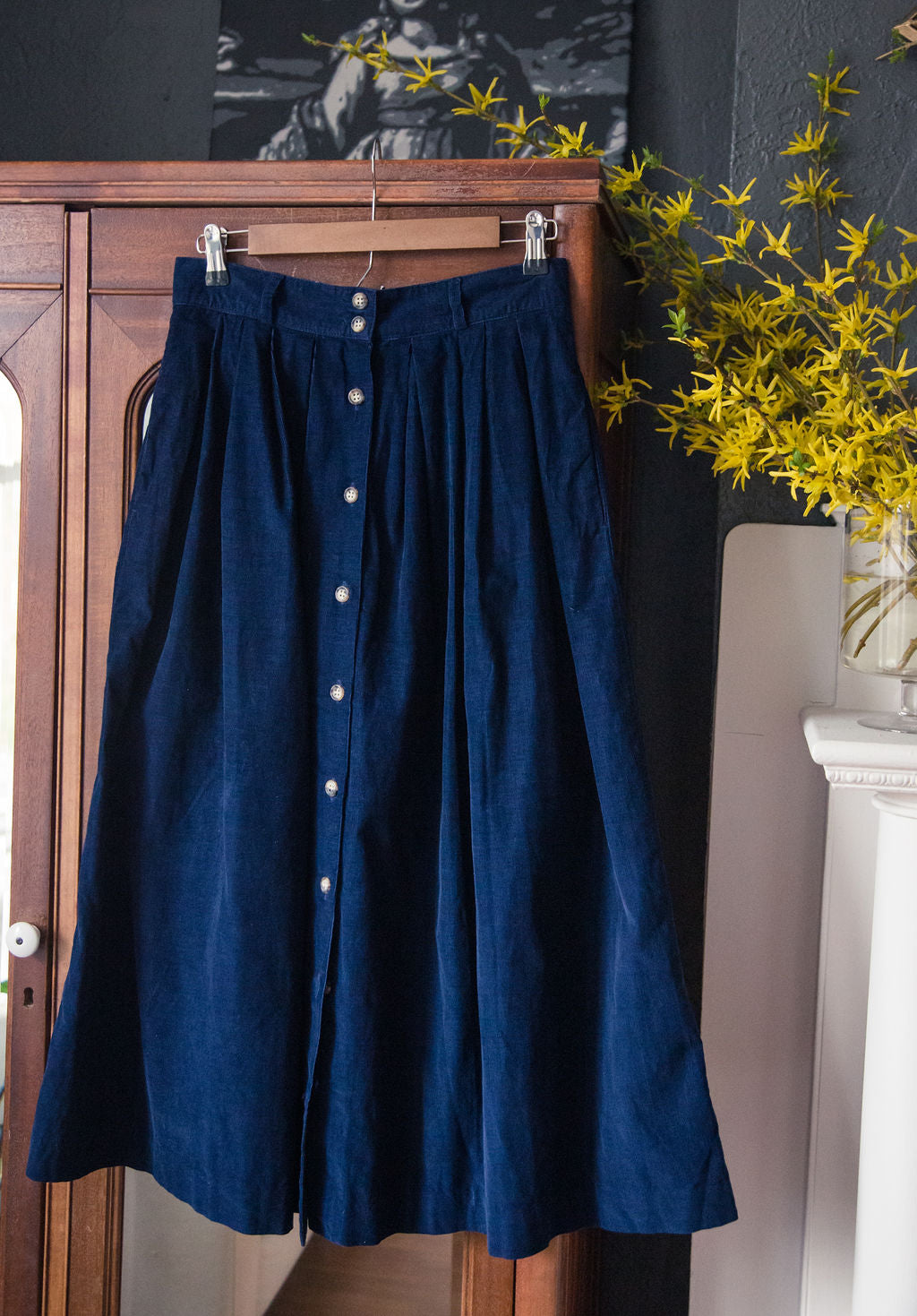 Vintage Navy Corduroy Button Front Midi Skirt
