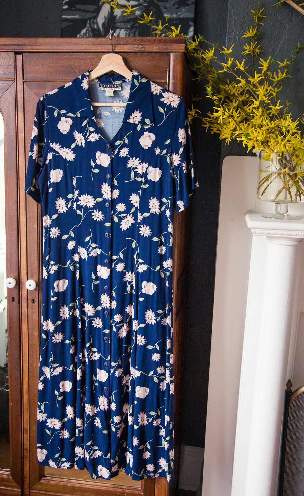 Vintage Navy Floral Button Front Dress