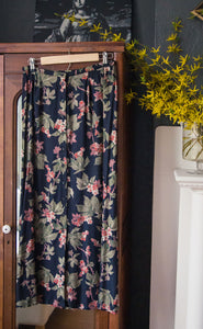 Vintage Black Floral Button Front Midi Skirt