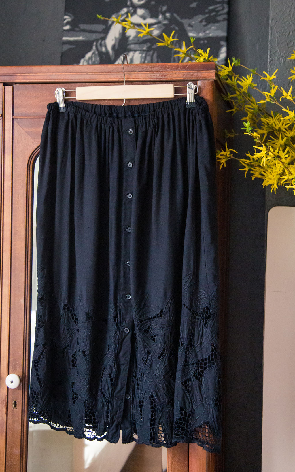 Black Lace Button Front Midi Skirt