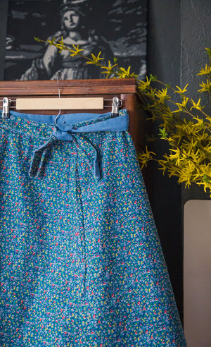 Vintage Reversible Wrap Skirt