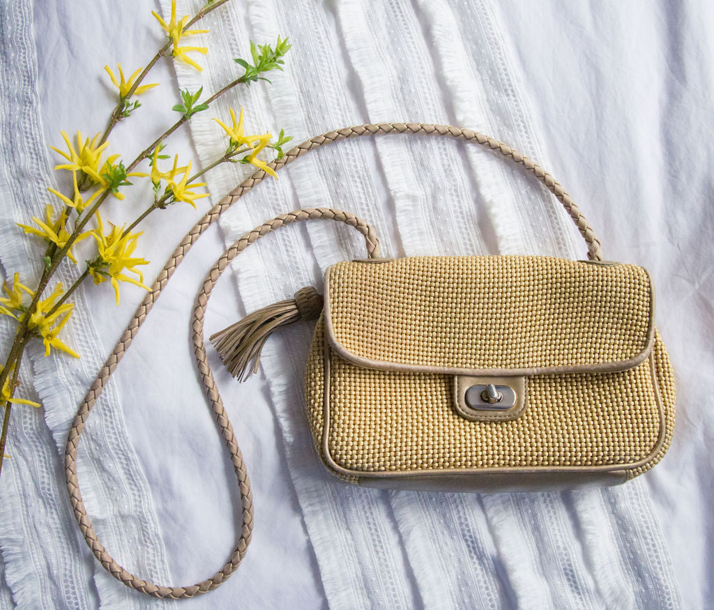 Vintage Yellow Weave Cross Body Purse