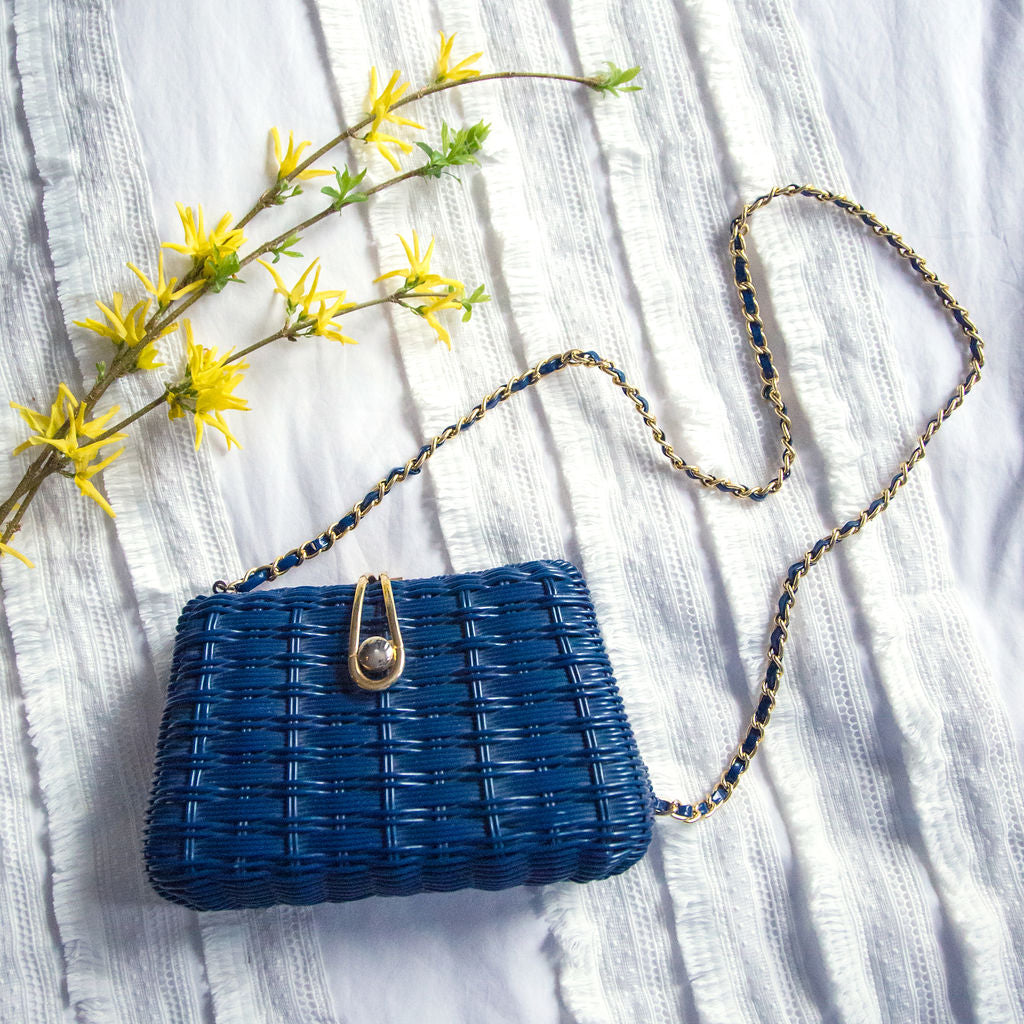 Vintage Blue Weave Cross Body Purse