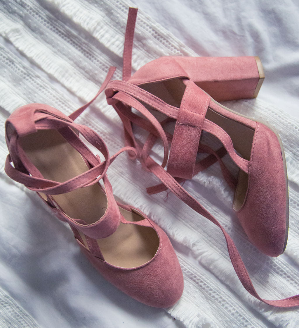 Rose Pink Wrap Pumps