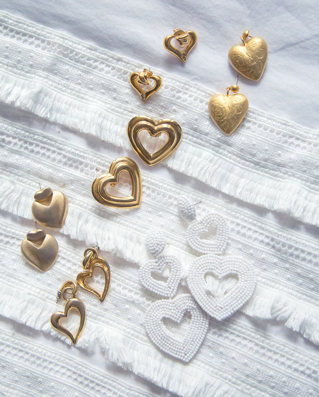 Vintage Brushed Gold Double Heart Earrings