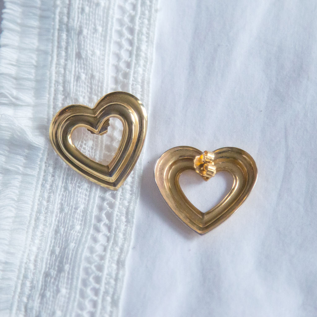 Vintage Brass Statement Oversized Heart Earrings