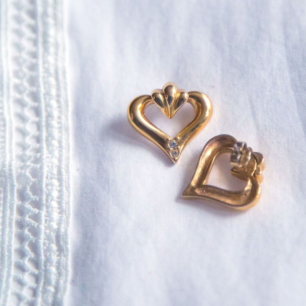 Vintage Simple Heart Earrings