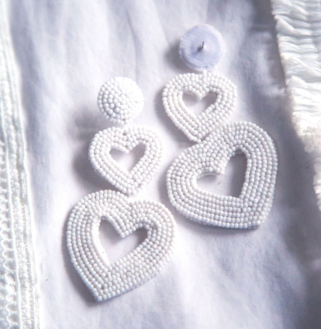 3 Tier Statement Heart Earrings